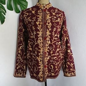 Eziba India Wool Embroidered Jacket Blazer